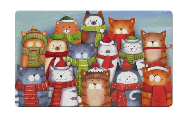 Toland Home Garden Cat Decorative Christmas Carol Floor Mat